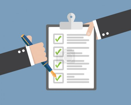 Illustration pour Presse-papiers à main avec liste de contrôle et autres signatures - image libre de droit