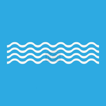 Illustration for White waves icon, isolated on blue background - Royalty Free Image