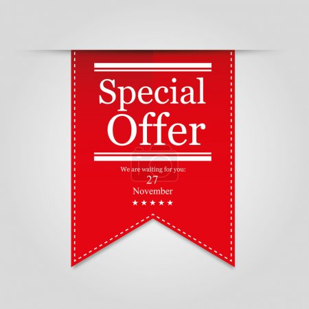 Illustration for Red ribbon Special offer on gray background - Royalty Free Image