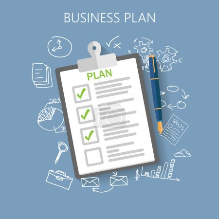 Illustration for Business plan Flat vector illustration - Royalty Free Image