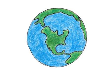 Photo pour Terre dessinée à la main avec des crayons de couleur. Isolé sur blanc - image libre de droit