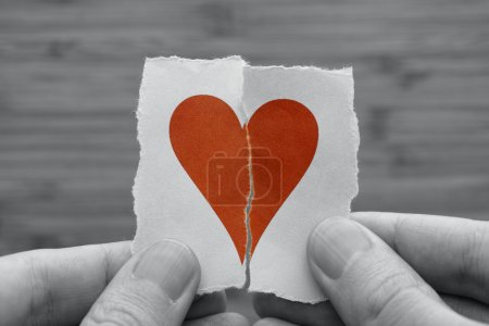 Photo for Man holds red broken paper heart in his hands. Black and white image with red paper heart. Vignette. - Royalty Free Image
