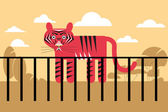 Vector illustration of a flat design of the zoo tiger in a cage