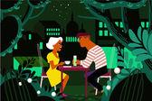 night in paris poster flat design love romance relationships