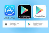app store and google play logos