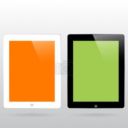 Black and white ipad mock ups with color backgrounds