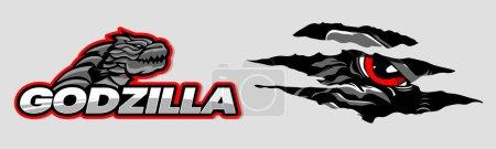 Illustration pour Godzilla logo et un monstre yeux se cachant de griffes - image libre de droit