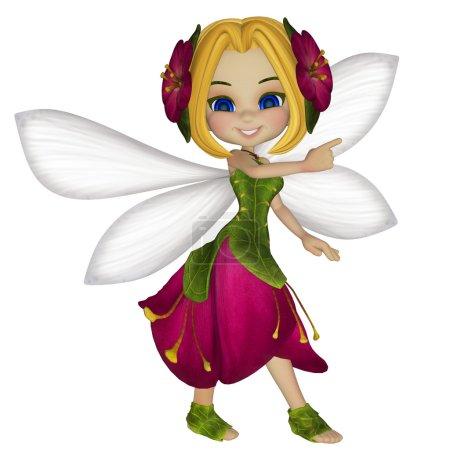 cartoon little fairy with a blank sign
