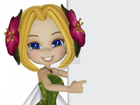 cartoon little fairy with a blank board