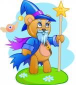 Medvěd, oblečený jako kouzelník