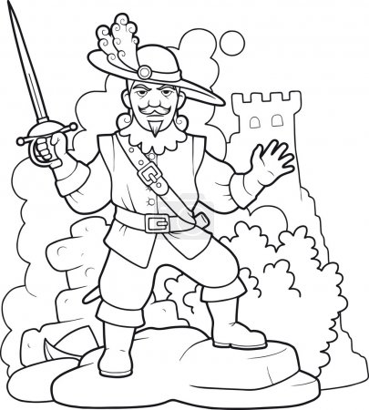 brave musketeer with sword