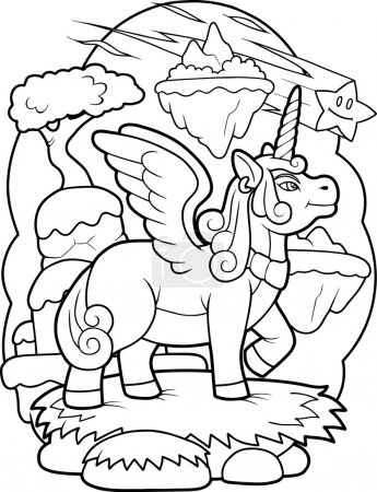 winged unicorn is preparing to fly