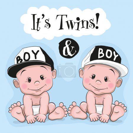 Illustration for Two cute cartoon twins boys on a blue background - Royalty Free Image