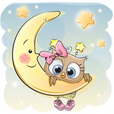 Illustration pour Mignonne dessin animé hibou fille sur la lune - image libre de droit