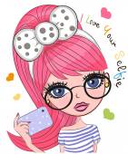 Vector cute cartoon girl with pink hair makes selfie