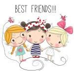 Three Cute cartoon girls on a white background...