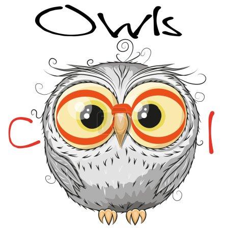 Illustration pour Chouette hibou avec des lunettes rouges isolé sur un fond blanc - image libre de droit