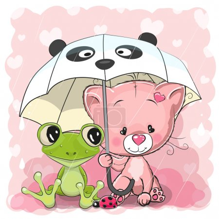 Illustration for Cute Cartoon Frog and Kitten with umbrella - Royalty Free Image