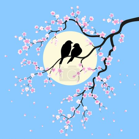 Illustration for Two birds is sitting on a branch - Royalty Free Image