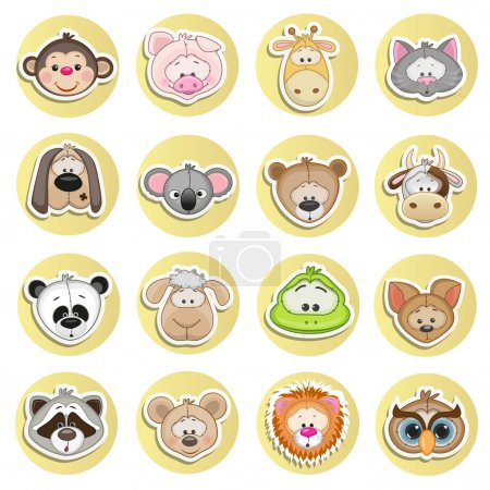 Illustration for Set of different animals on a white background - Royalty Free Image