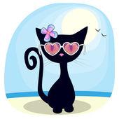 Black kitten on the beach