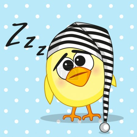 Illustration for Sleeping chicken in a cap - Royalty Free Image