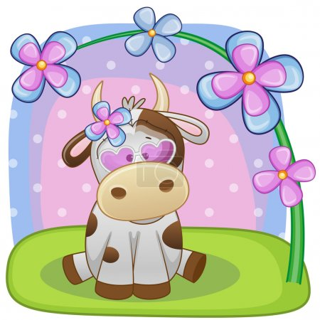 Cow with flowers card