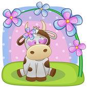 Kráva s květiny kartou