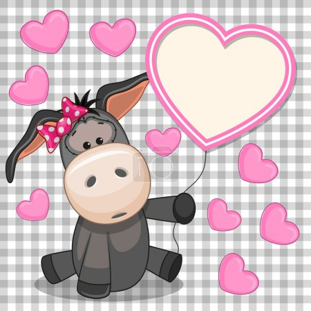 Valentine card with Donkey with heart frame...