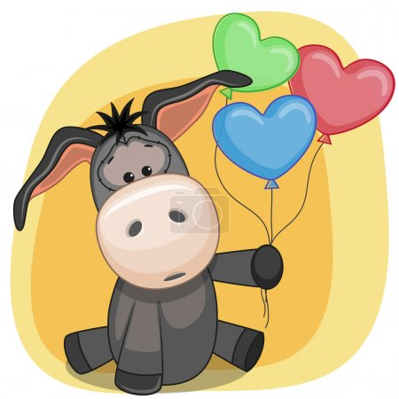 Donkey with balloons card