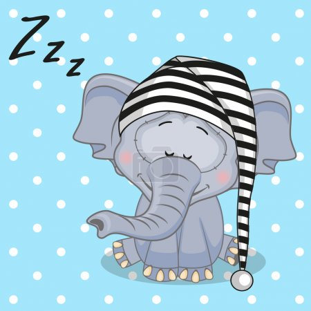 Illustration for Sleeping Elephant in a cap - Royalty Free Image