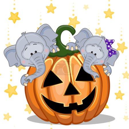 Halloween Elephants with pumpkin
