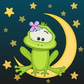 Frog girl  on the moon