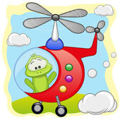 Cute Frog in helicopter
