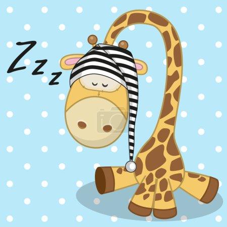 Photo pour Girafe endormie dans une casquette - image libre de droit
