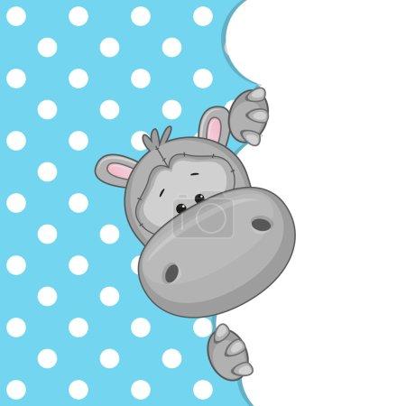 Illustration pour Hippopotame regardant derrière le nuage - image libre de droit