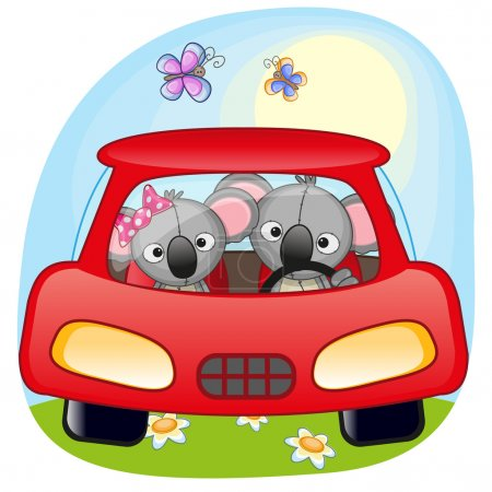 Two Koalas is sitting in a car...