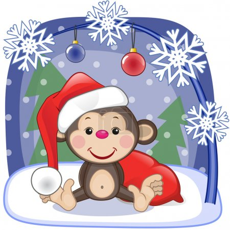 Cute  Santa Monkey