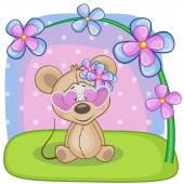 Greeting card Mouse with flowers