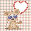 Valentine card with mouse with heart frame...
