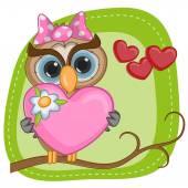 Owl girl with heart