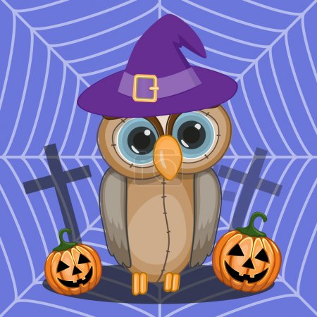 Halloween Owl with pumpkin