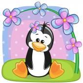 Tučňák s květinami