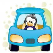 Cute Penguin in a car