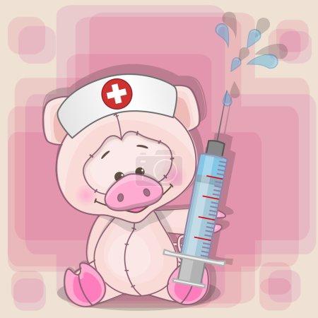 Illustration pour Infirmière porcine avec une seringue à la main - image libre de droit