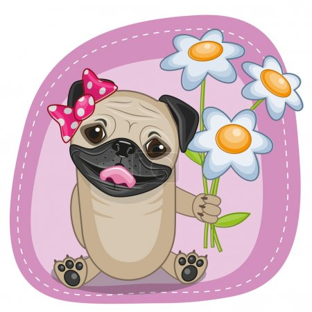 Pug Dog with flowers
