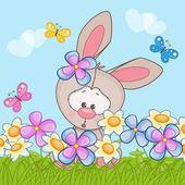 Králík s květinami a motýli