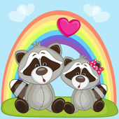 Valentine card with Lovers Raccoons