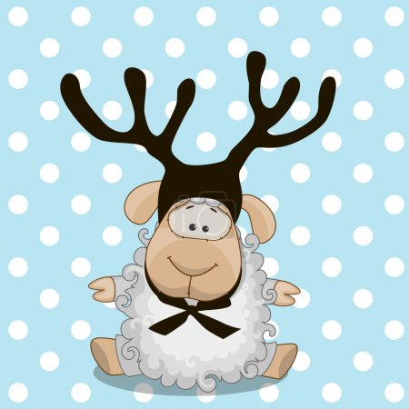Illustration for Christmas illustration of cartoon Sheep with antler - Royalty Free Image