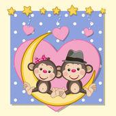 """Постер, картина, фотообои """"милые обезьяны любителей"""""""